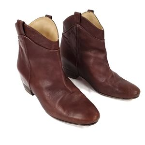 Zara Low Rider Leather Cowboy Boot Mid-Calf Brown